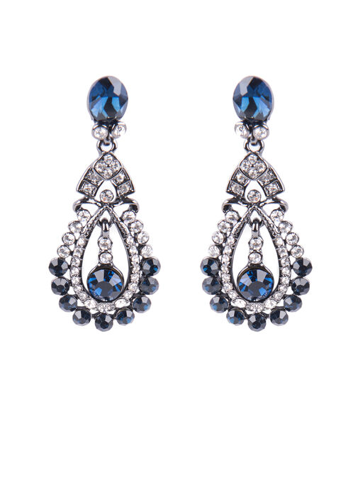 Crystal Chandelier Earrings , Blue, hi-res