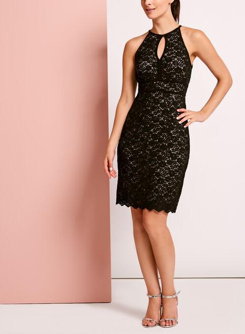 Glitter Lace Keyhole Dress, Black, hi-res