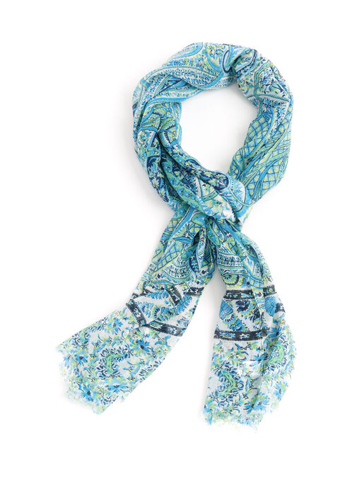 Tropical Paisley Print Scarf, Blue, hi-res
