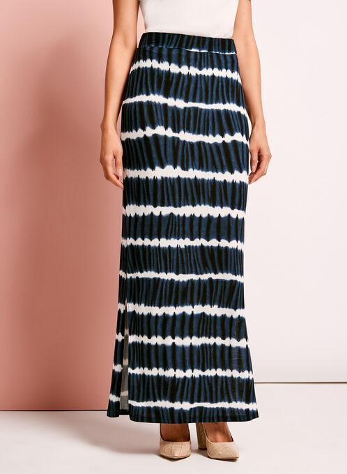 Tie Dye Print Maxi Skirt, Blue, hi-res