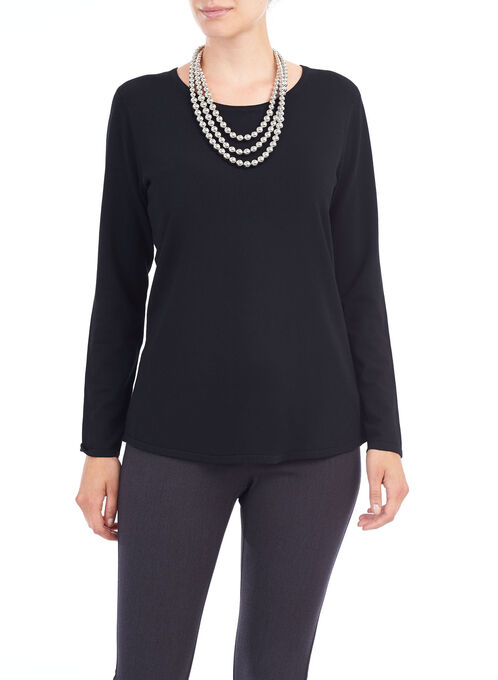 Back Zip Scoop Neck Sweater, Black, hi-res