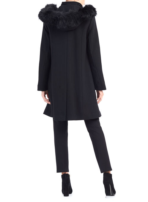 Novelti A-Line Wool Coat, Black, hi-res