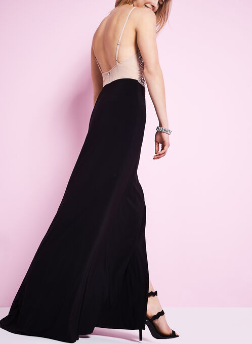 Sequin Halter Neck Gown , Black, hi-res