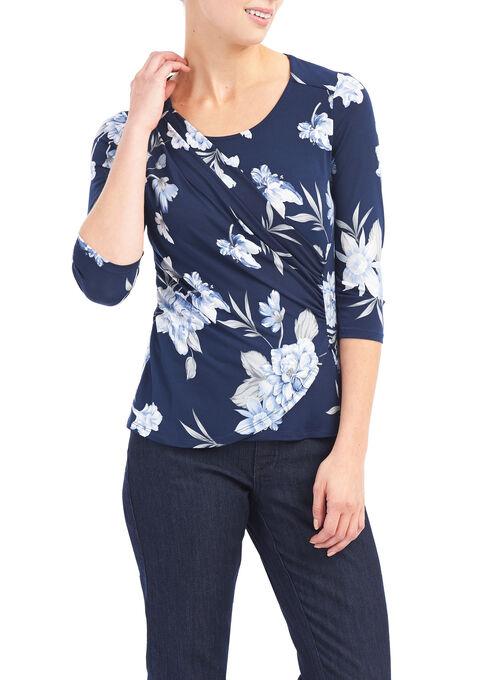 3/4 Sleeve Floral Print Top, Blue, hi-res