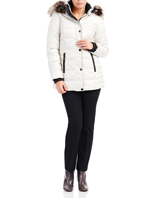 Novelti Faux Fur Polyfill Coat, Off White, hi-res