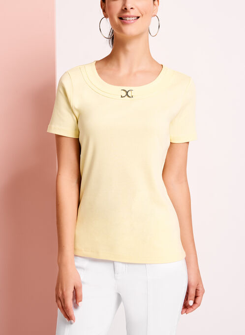 Metallic Ring Trim Scoop Neck T-Shirt, Yellow, hi-res