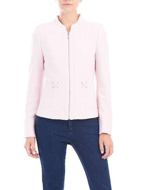 Wool Blend Lattice Detail Jacket, Pink, hi-res