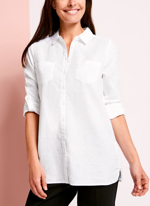 Dual Pocket Linen Button Down Shirt, White, hi-res