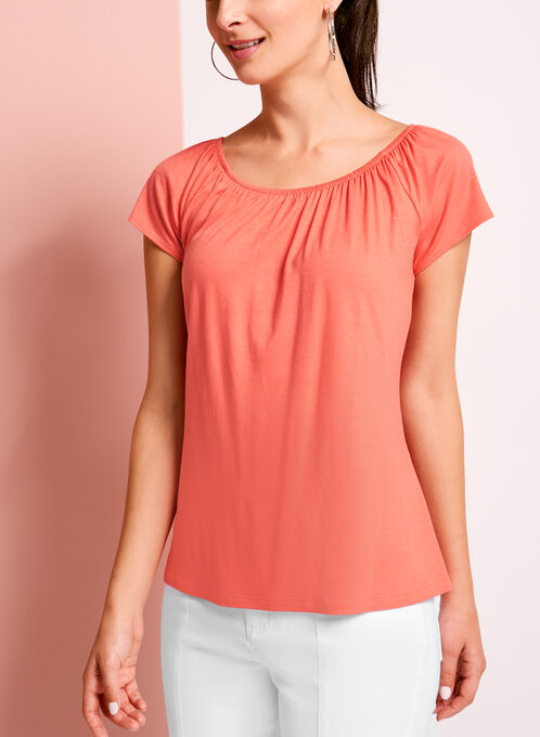 Short Sleeve Peasant Top, Orange, hi-res