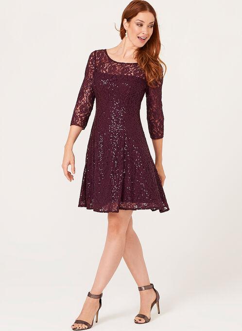 Sequin Lace Fit & Flare Dress , Purple, hi-res