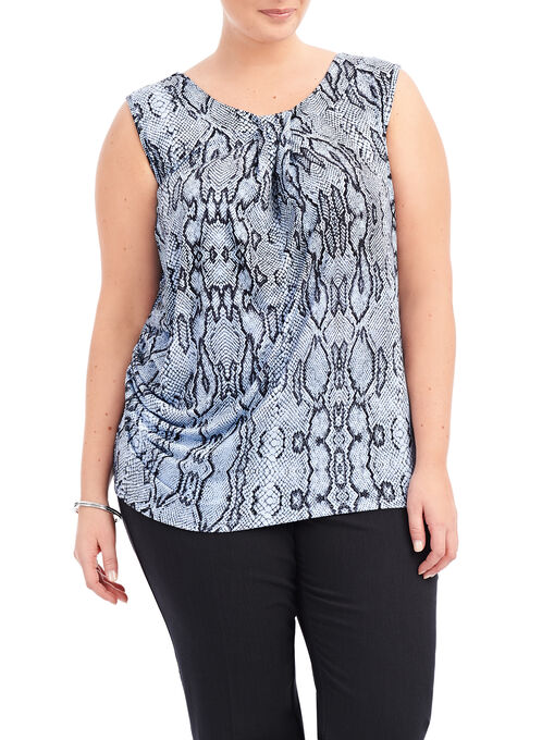 Sleeveless Snake Skin Pint Top, Blue, hi-res