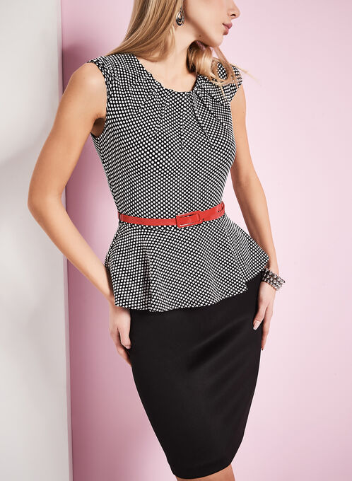 Belted Peplum Polka Dot Dress, Black, hi-res