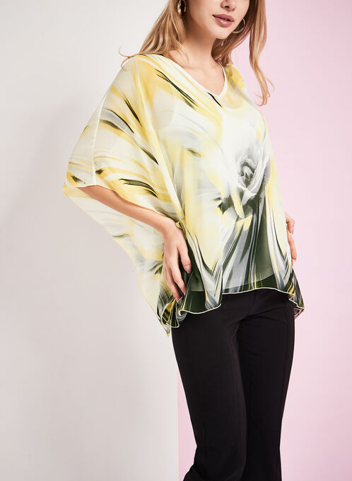 3/4 Sleeve Printed Poncho Blouse, Yellow, hi-res