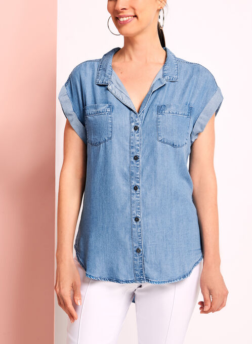 Button Down Denim Tencel Top, Blue, hi-res