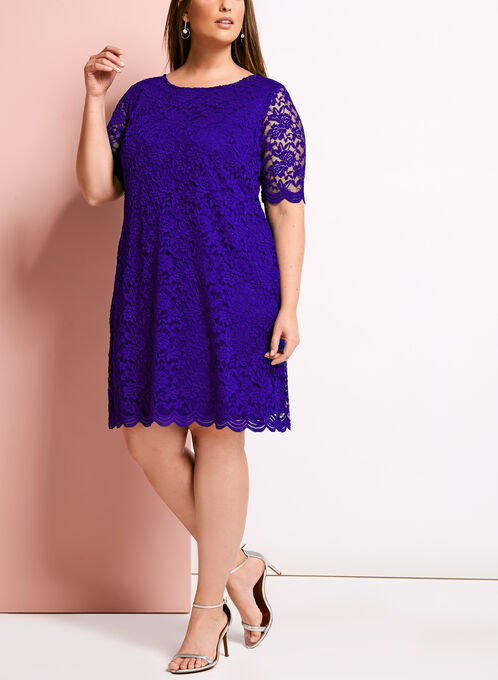 Elbow Sleeve Scalloped Lace Dress, Blue, hi-res