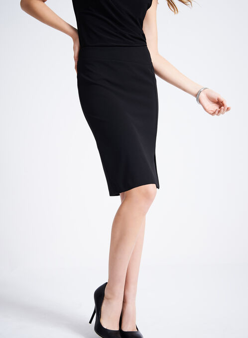 Front & Back Slit Pencil Skirt, Black, hi-res