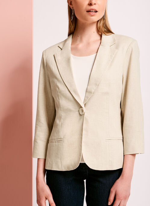 Linen Blend Single Button Blazer, Grey, hi-res