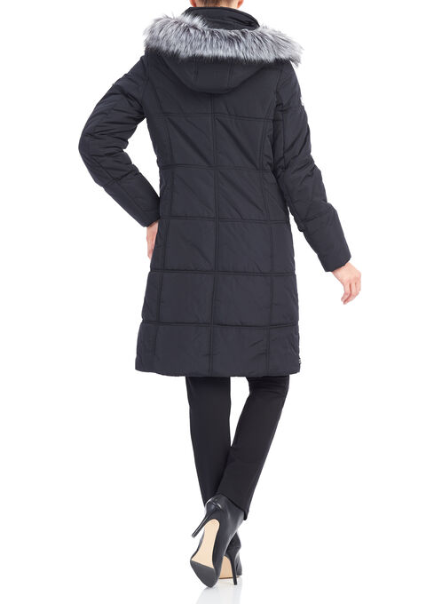 Novelti Polyfill Faux Fur Coat , Black, hi-res