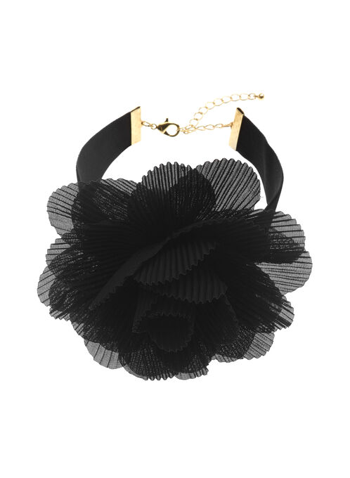 Pleated Floral Motif Choker , Black, hi-res