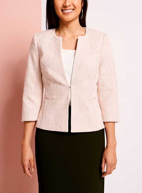 Bouclé Piped Trim Jacket, Pink, hi-res