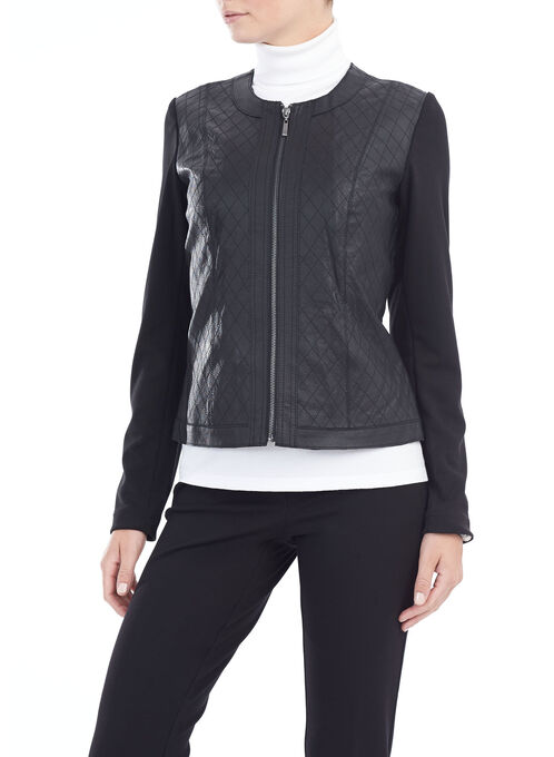 Quilted Detail Genuine Leather Jacket, Black, hi-res