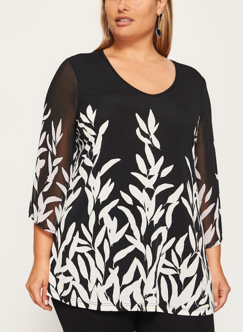 3/4 Sleeve Tunic Top, Black, hi-res