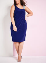 Jersey Drape Front Dress, Blue, hi-res