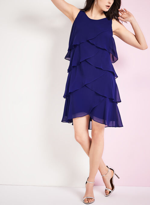 Sleeveless Tiered Chiffon Dress, Blue, hi-res