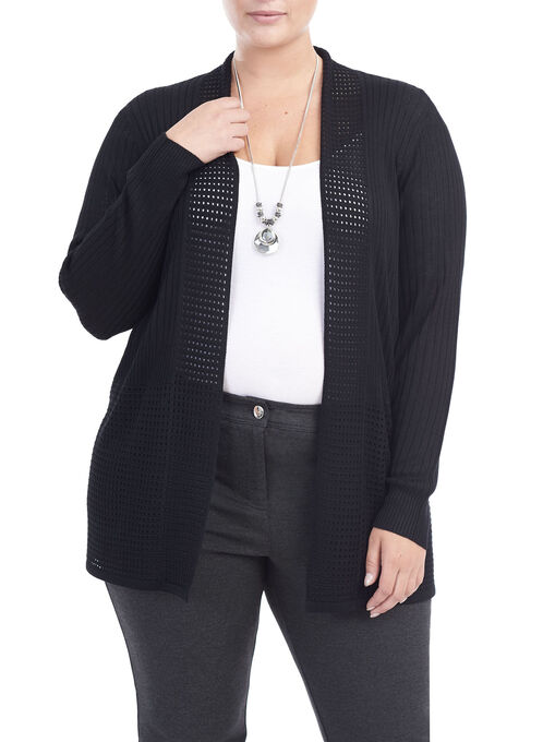 Pointelle Knit Cardigan , Black, hi-res