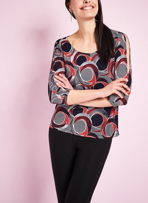 3/4 Sleeve Abstract Print Top, Blue, hi-res