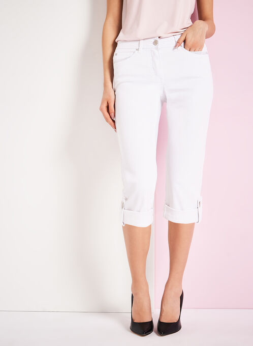 Stud Trim Denim Capris , White, hi-res