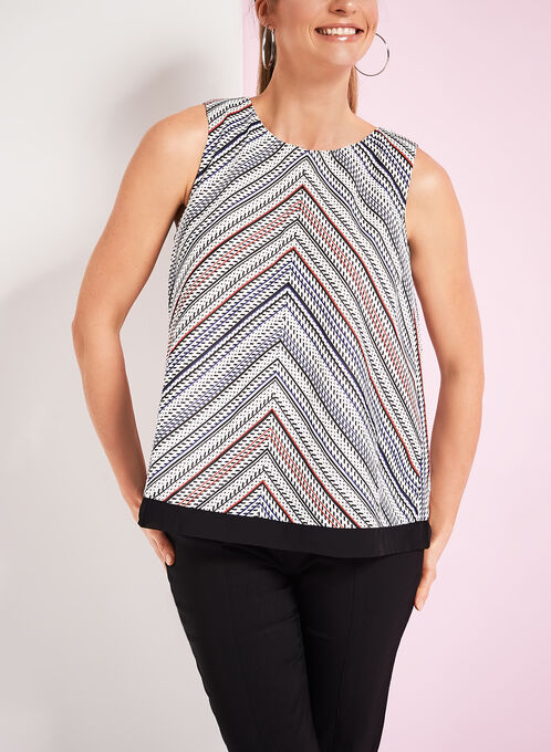 Sleeveless Variegated Stripe Print Blouse, White, hi-res