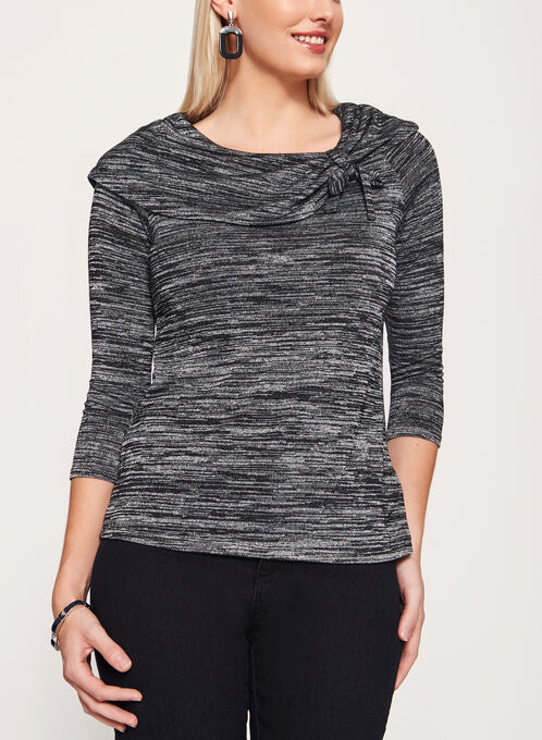 Marilyn Neck 3/4 Sleeve Sweater , Grey, hi-res