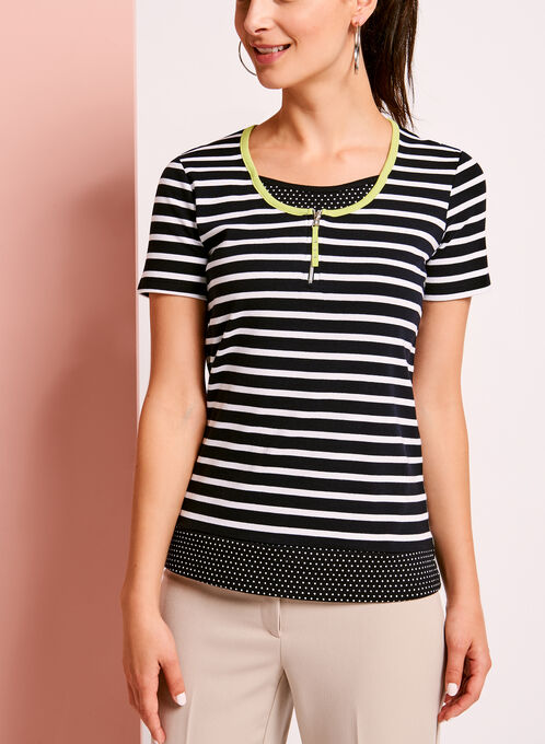 Stripe & Dot Print T-Shirt, Blue, hi-res