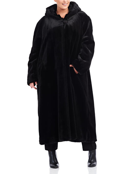 Hooded Faux Fur Coat , Black, hi-res