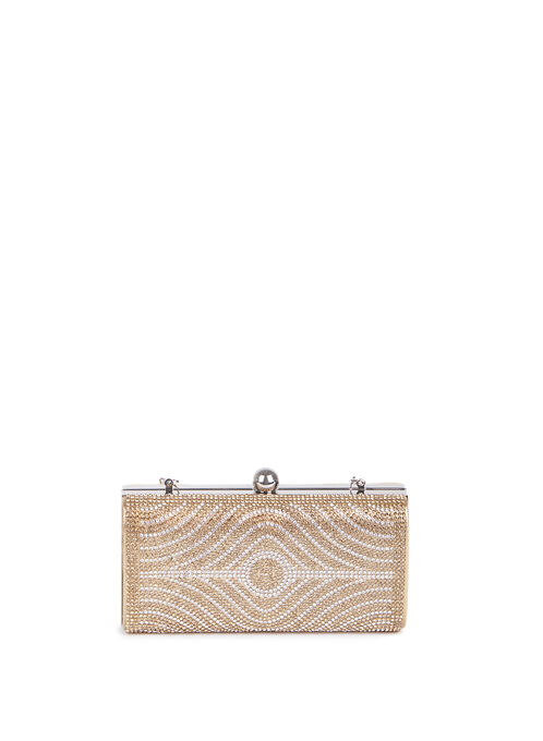 Crystal Box Clutch , Gold, hi-res