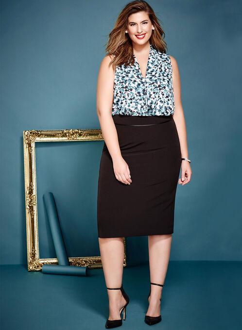Short Pencil Skirt, Black, hi-res