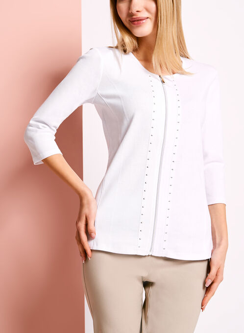 3/4 Sleeve Stud & Zipper Trim Top, White, hi-res