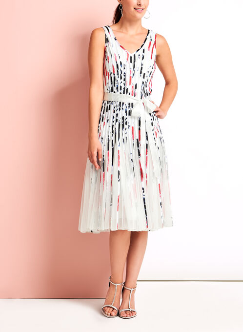 Watercolour Print Satin Stripe Dress, White, hi-res