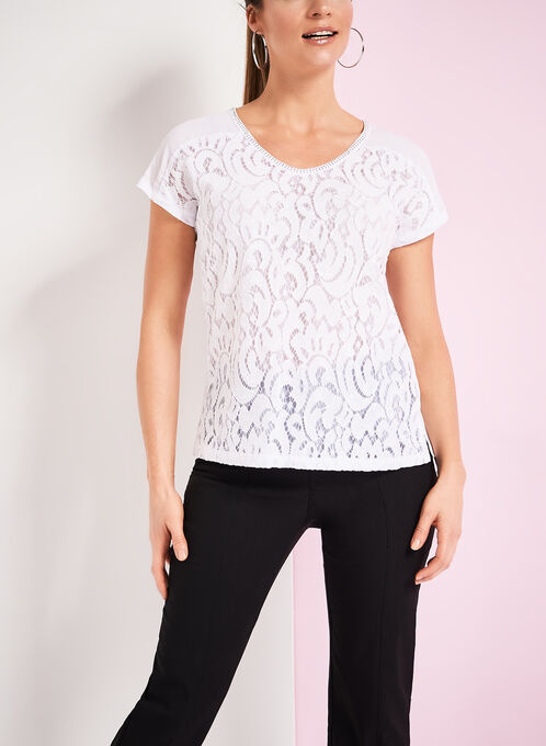 Lace Front V-Neck Top, White, hi-res