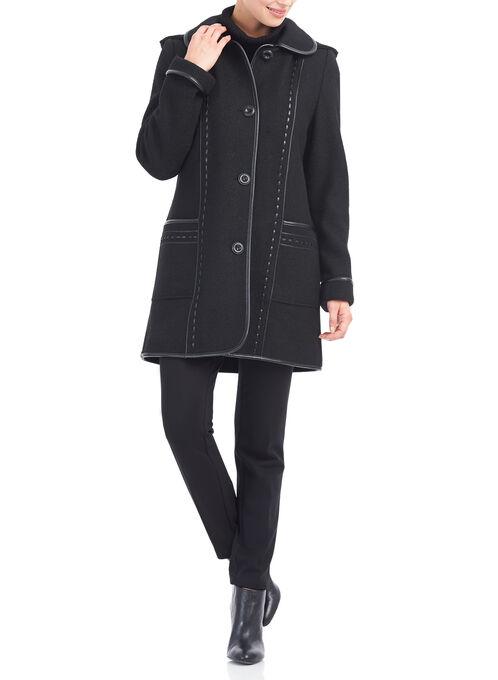 Wool Blend & Faux Leather Coat , Black, hi-res