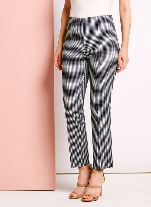 City Fit Gingham 7/8 Pants, Black, hi-res