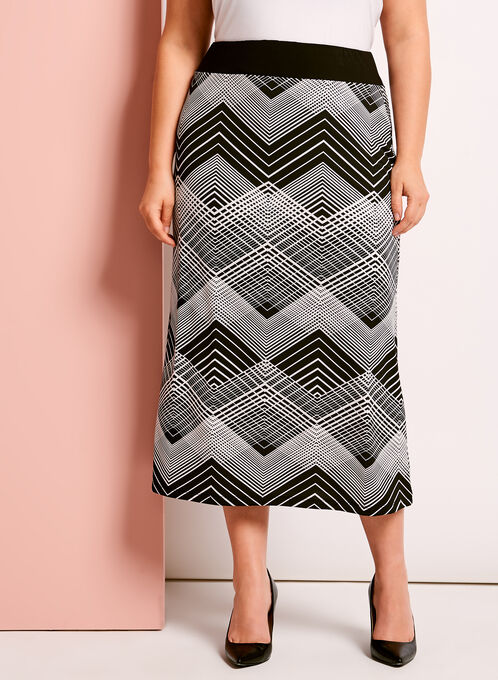 Jersey Graphic Print Midi Skirt, Black, hi-res