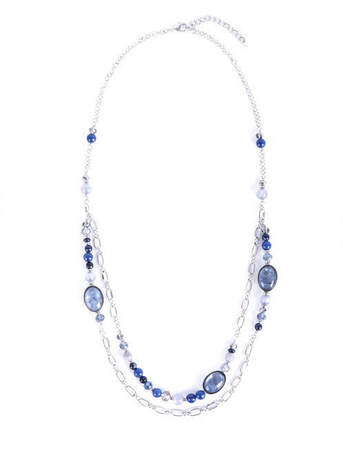 Faceted Stone Double Row Necklace, Blue, hi-res