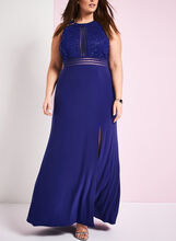 Jersey & Sequin Lace Gown , Blue, hi-res