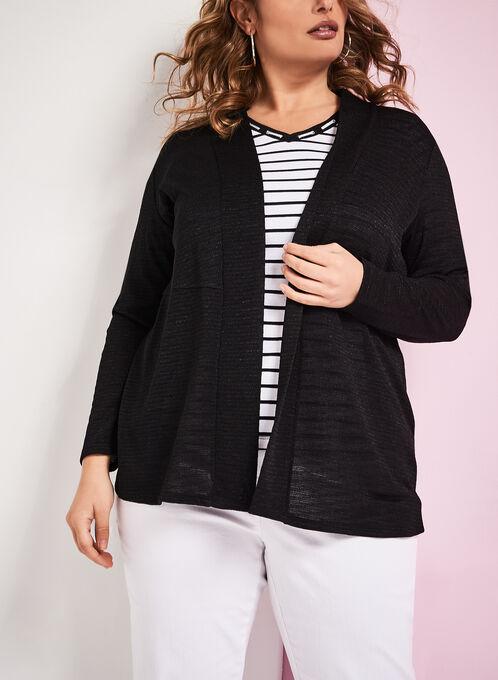 Textured Knit Cascade Cardigan, Black, hi-res