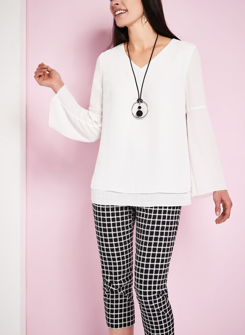 Bell Sleeve Popover Blouse, Off White, hi-res