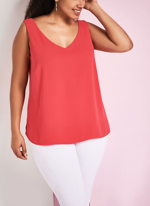 Frank Lyman Sleeveless V-Neck Blouse, Orange, hi-res