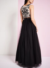 Sleeveless Mesh & Crinoline Evening Dress, Black, hi-res