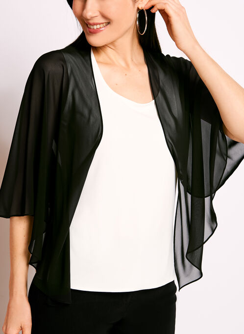 Sheer Chiffon Bolero, Black, hi-res